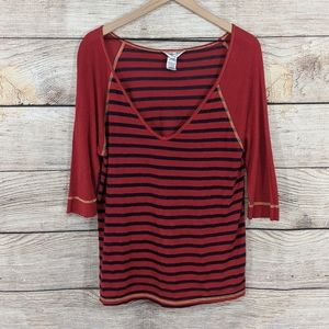 Hard Tail Forever striped Henley top